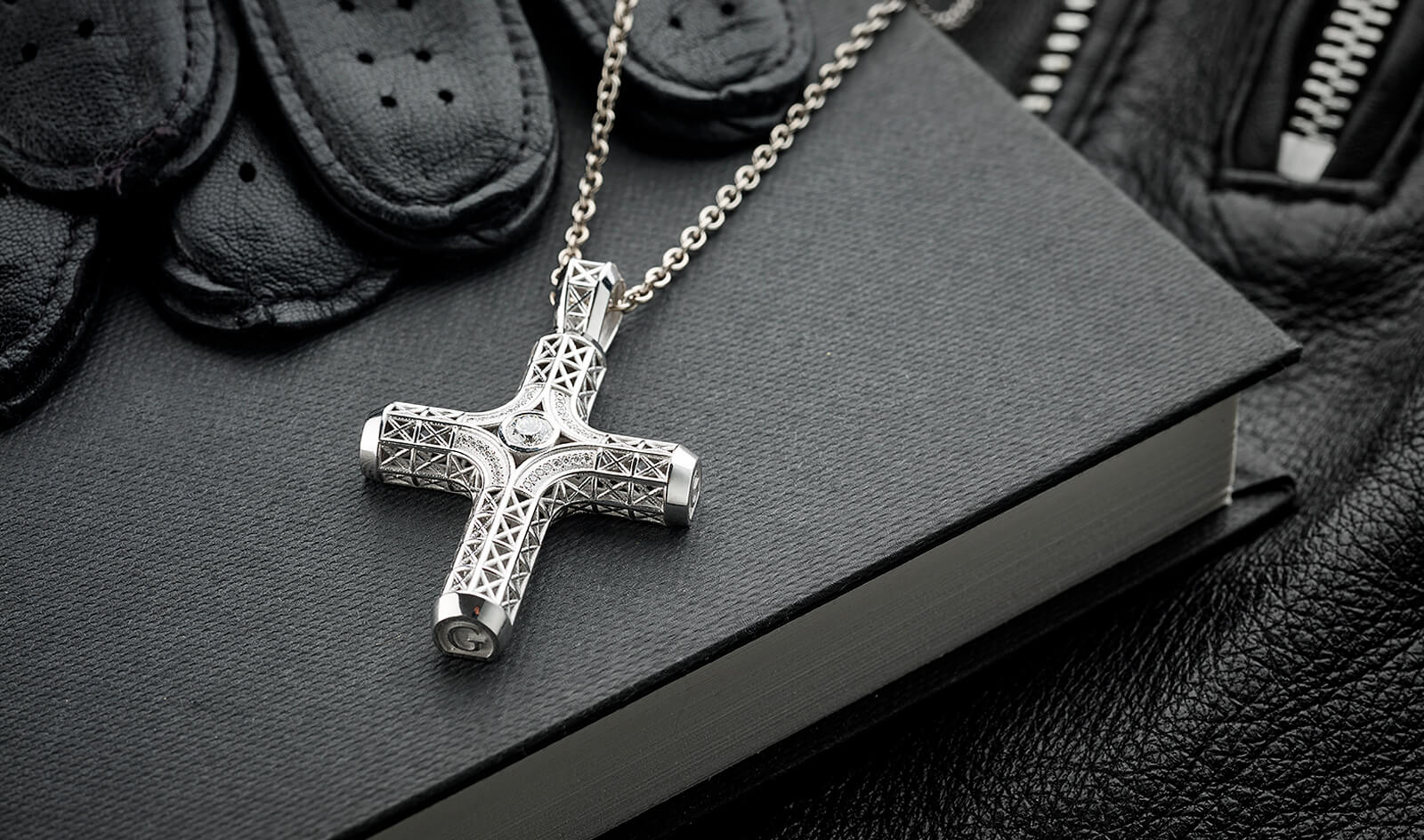 Filigree Cross Necklace, White Gold, 33 diamonds
