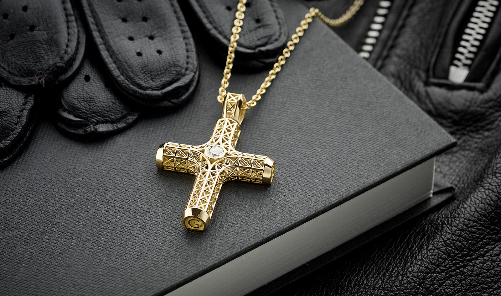 Filigree Cross Necklace, Yellow Gold, 1 diamond