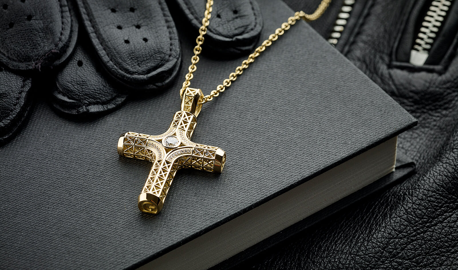Filigree Cross Necklace, Yellow Gold, 33 diamonds